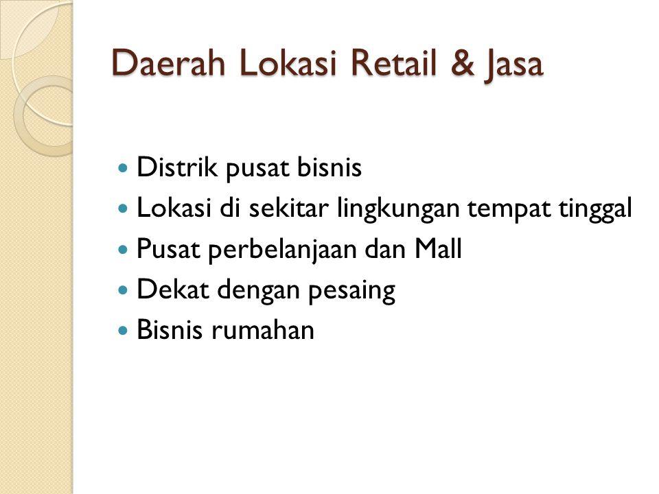 Daerah Lokasi Retail & Jasa Distrik pusat bisnis Lokasi di sekitar lingkungan tempat tinggal Pusat perbelanjaan dan Mall Dekat dengan pesaing Bisnis rumahan