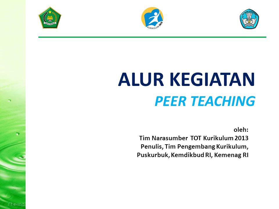 ALUR KEGIATAN PEER TEACHING oleh: Tim Narasumber TOT Kurikulum 2013 Penulis, Tim Pengembang Kurikulum, Puskurbuk, Kemdikbud RI, Kemenag RI