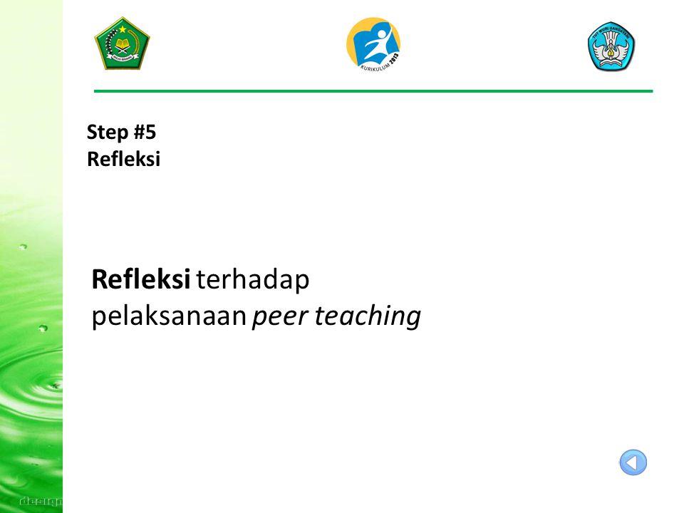 Step #4 Praktik Peer Teaching: Praktik peer teaching pembelajaran secara individual, untuk setiap peserta 30 menit dipandu fasilitator Menilai kegiata