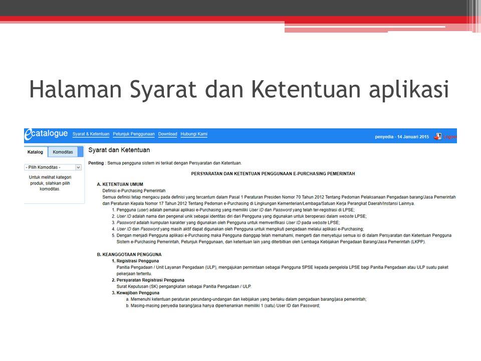 Halaman Syarat dan Ketentuan aplikasi