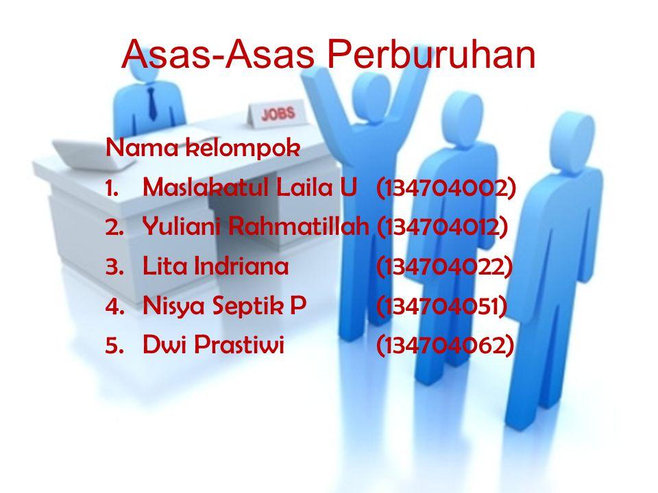 Asas-Asas Perburuhan Nama kelompok 1.Maslakatul Laila U (134704002) 2.Yuliani Rahmatillah (134704012) 3.Lita Indriana (134704022) 4.Nisya Septik P (134704051) 5.Dwi Prastiwi (134704062)