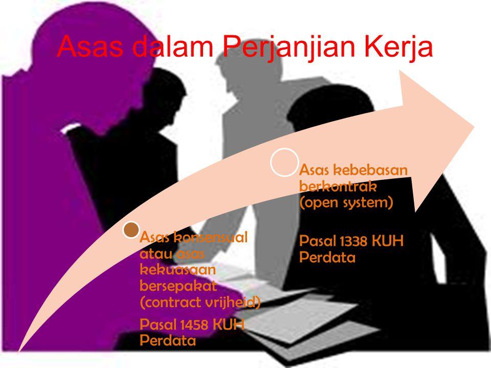 Asas dalam Perjanjian Kerja Asas konsensual atau asas kekuasaan bersepakat (contract vrijheid) Pasal 1458 KUH Perdata Asas kebebasan berkontrak (open system) Pasal 1338 KUH Perdata