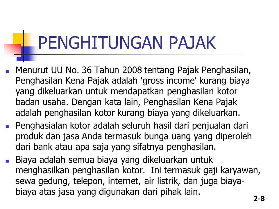 2-8 PENGHITUNGAN PAJAK Menurut UU No.