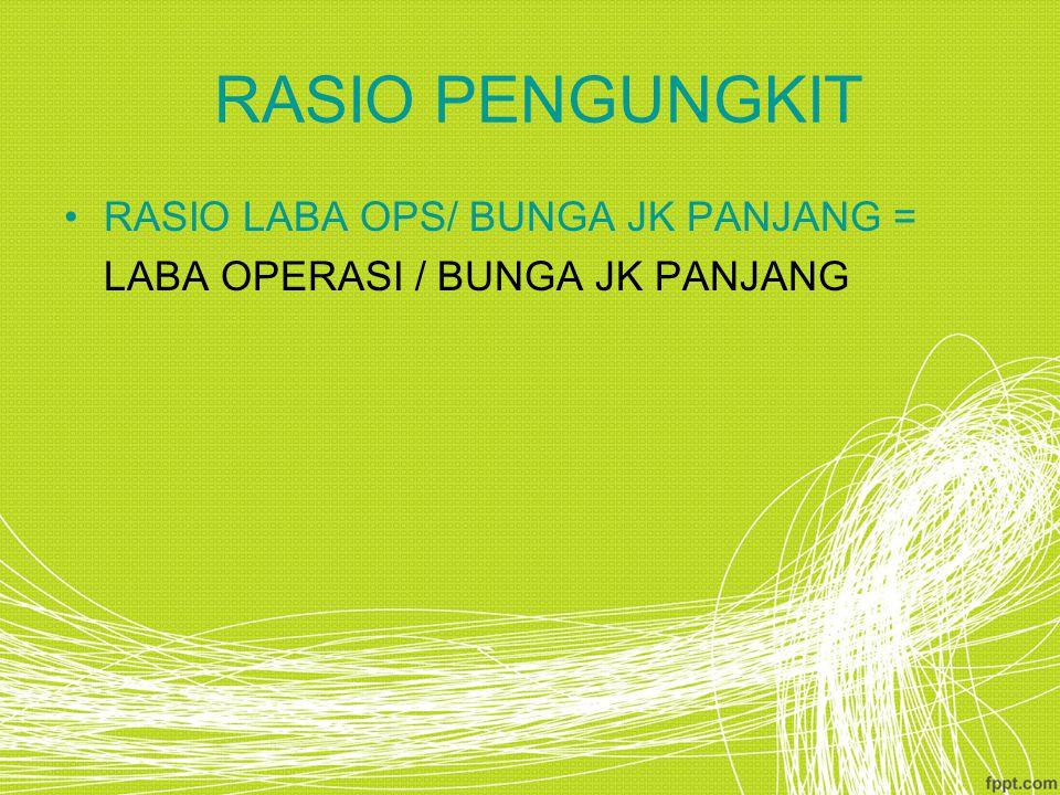 RASIO PENGUNGKIT RASIO LABA OPS/ BUNGA JK PANJANG = LABA OPERASI / BUNGA JK PANJANG