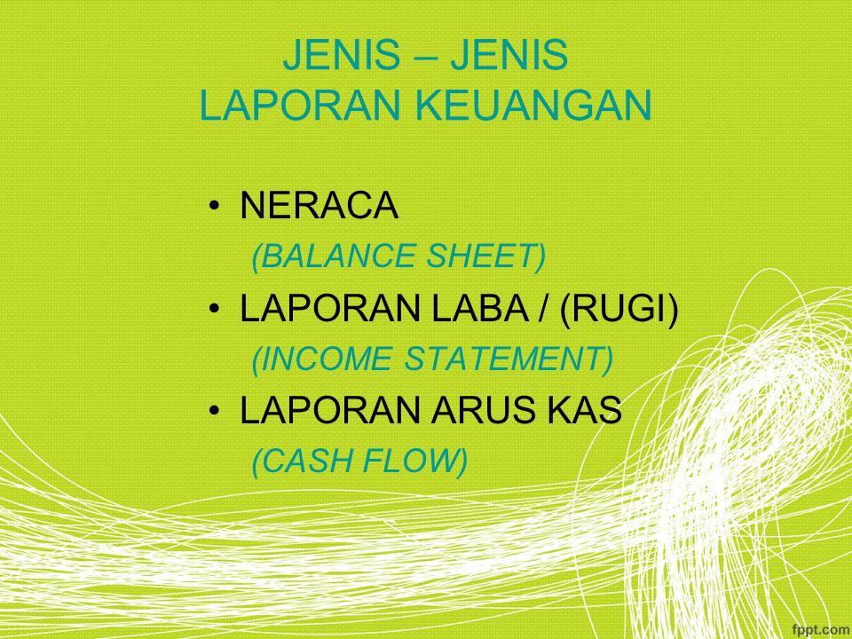 JENIS – JENIS LAPORAN KEUANGAN NERACA (BALANCE SHEET) LAPORAN LABA / (RUGI) (INCOME STATEMENT) LAPORAN ARUS KAS (CASH FLOW)