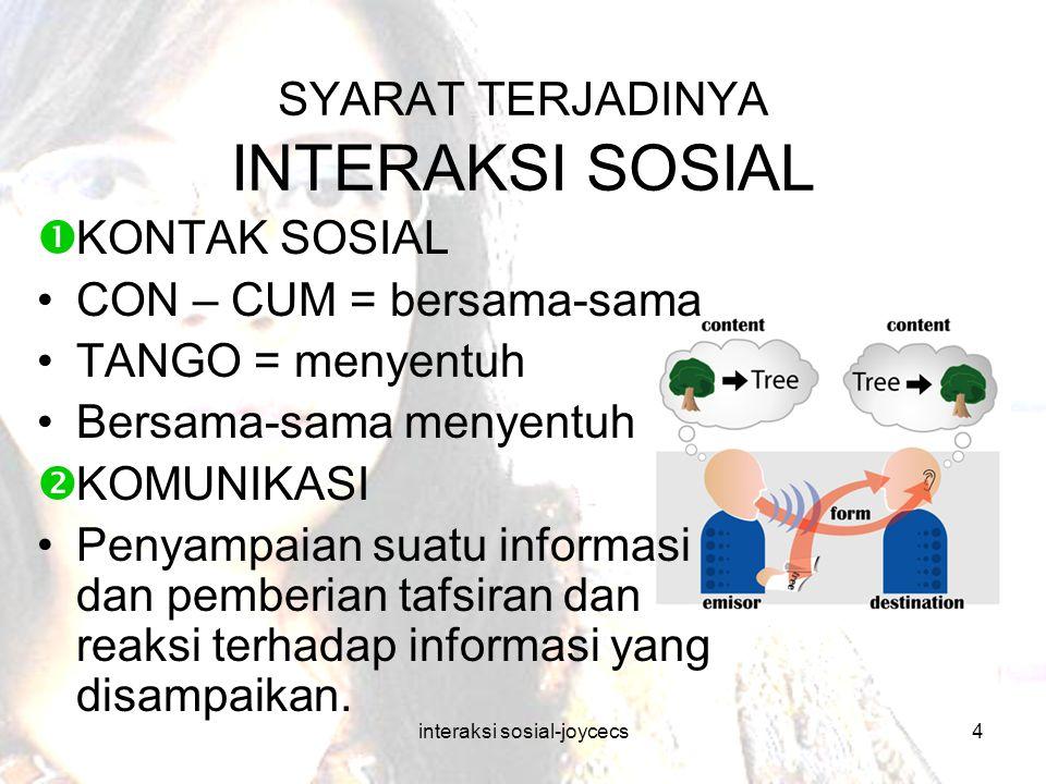 interaksi sosial-joycecs4 SYARAT TERJADINYA INTERAKSI SOSIAL  KONTAK SOSIAL CON – CUM = bersama-sama TANGO = menyentuh Bersama-sama menyentuh  KOMUN