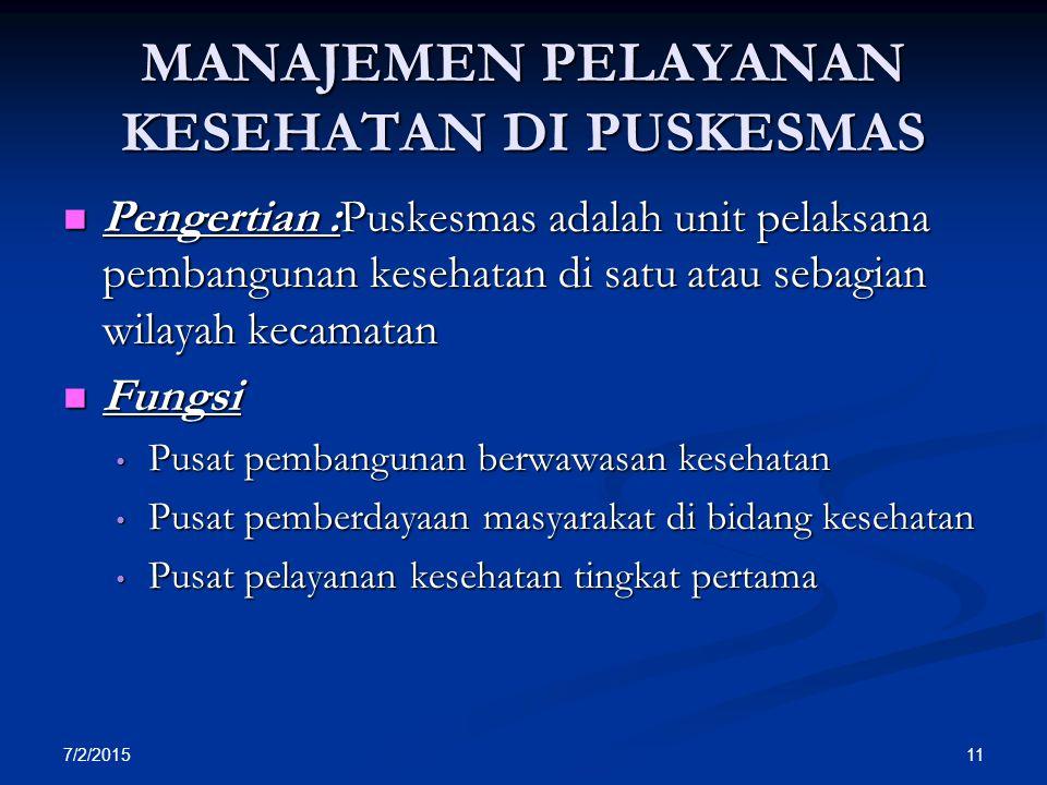 7/2/2015 11 MANAJEMEN PELAYANAN KESEHATAN DI PUSKESMAS Pengertian :Puskesmas adalah unit pelaksana pembangunan kesehatan di satu atau sebagian wilayah