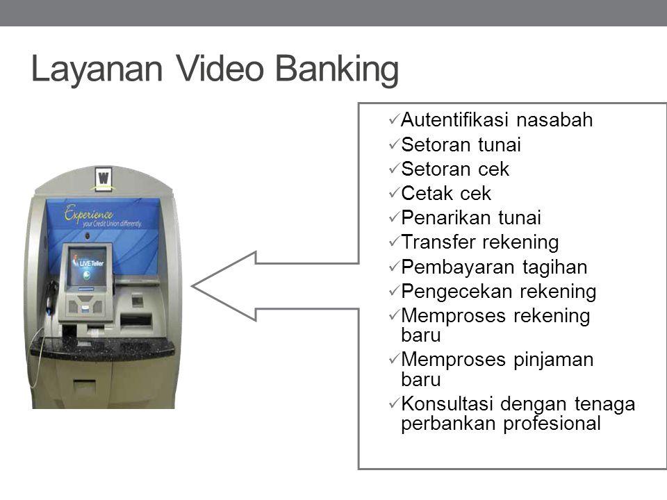 Layanan Video Banking Autentifikasi nasabah Setoran tunai Setoran cek Cetak cek Penarikan tunai Transfer rekening Pembayaran tagihan Pengecekan rekeni