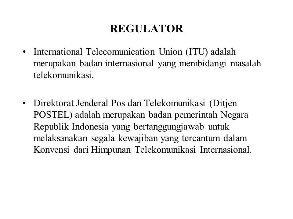 REGULATOR International Telecomunication Union (ITU) adalah merupakan badan internasional yang membidangi masalah telekomunikasi. Direktorat Jenderal