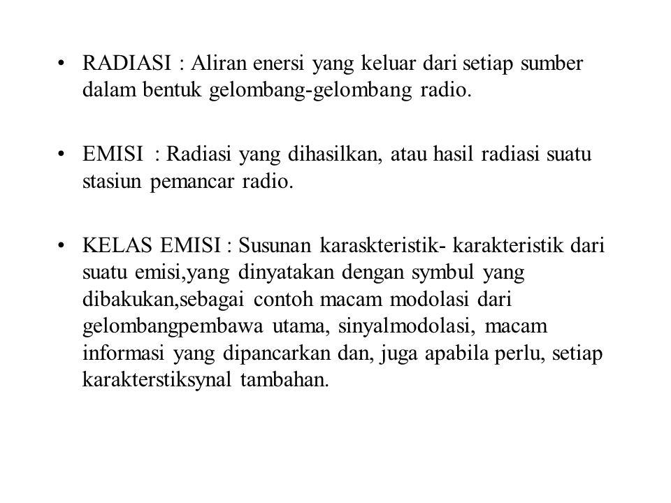 RADIASI : Aliran enersi yang keluar dari setiap sumber dalam bentuk gelombang-gelombang radio. EMISI : Radiasi yang dihasilkan, atau hasil radiasi sua