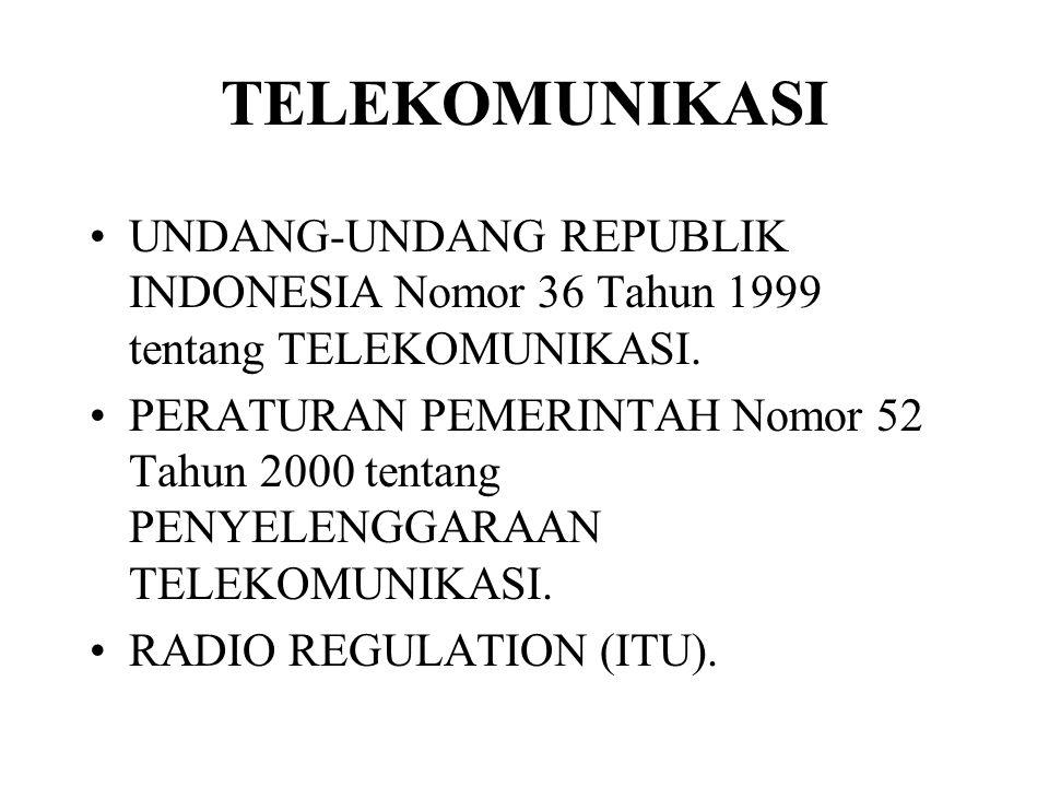 TELEKOMUNIKASI UNDANG-UNDANG REPUBLIK INDONESIA Nomor 36 Tahun 1999 tentang TELEKOMUNIKASI. PERATURAN PEMERINTAH Nomor 52 Tahun 2000 tentang PENYELENG