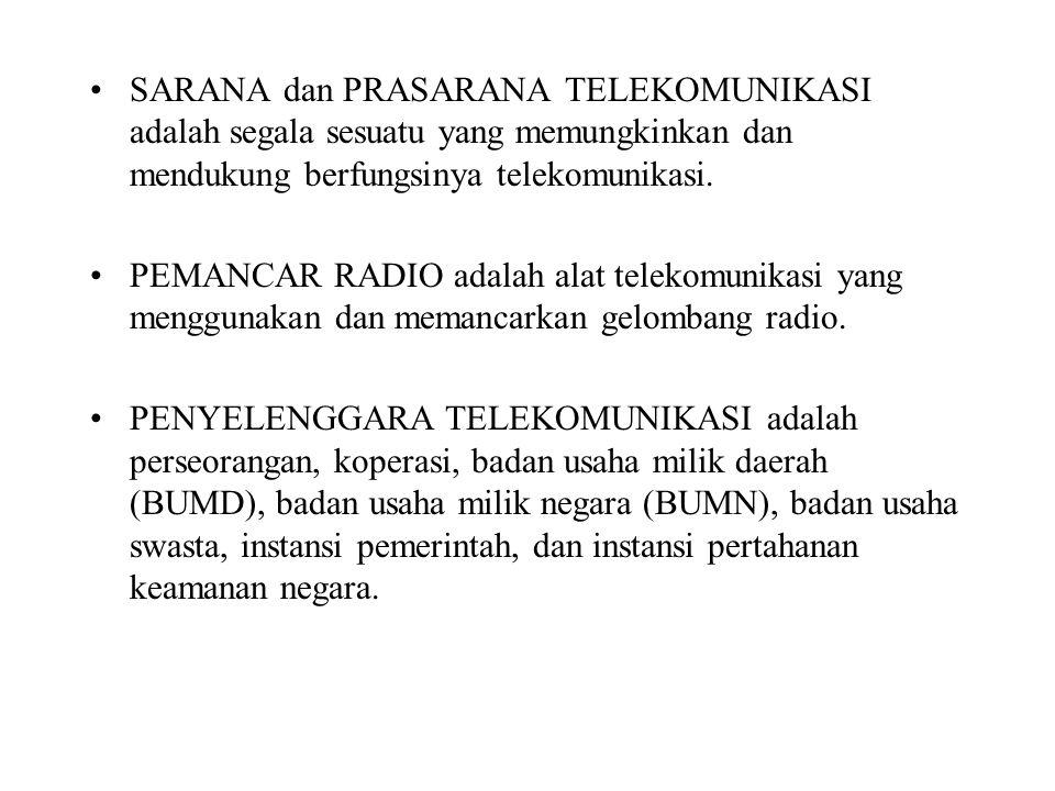 SARANA dan PRASARANA TELEKOMUNIKASI adalah segala sesuatu yang memungkinkan dan mendukung berfungsinya telekomunikasi. PEMANCAR RADIO adalah alat tele