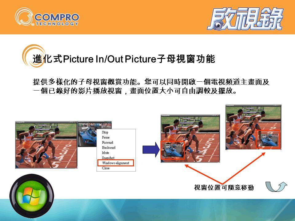 視窗位置可隨意移動 進化式 Picture In/Out Picture 子母視窗功能 提供多樣化的子母視窗觀賞功能。您可以同時開啟一個電視頻道主畫面及 一個已錄好的影片播放視窗,畫面位置大小可自由調較及擺放。