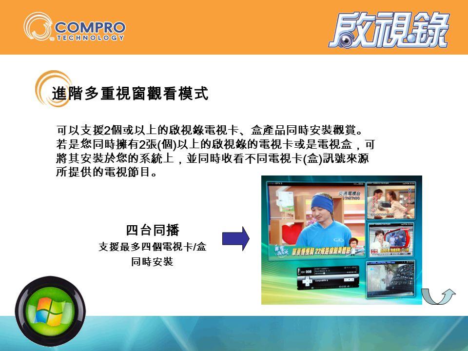 進階多重視窗觀看模式 可以支援 2 個或以上的啟視錄電視卡、盒產品同時安裝觀賞。 若是您同時擁有 2 張 ( 個 ) 以上的啟視錄的電視卡或是電視盒,可 將其安裝於您的系統上,並同時收看不同電視卡 ( 盒 ) 訊號來源 所提供的電視節目。 四台同播 支援最多四個電視卡 / 盒 同時安裝