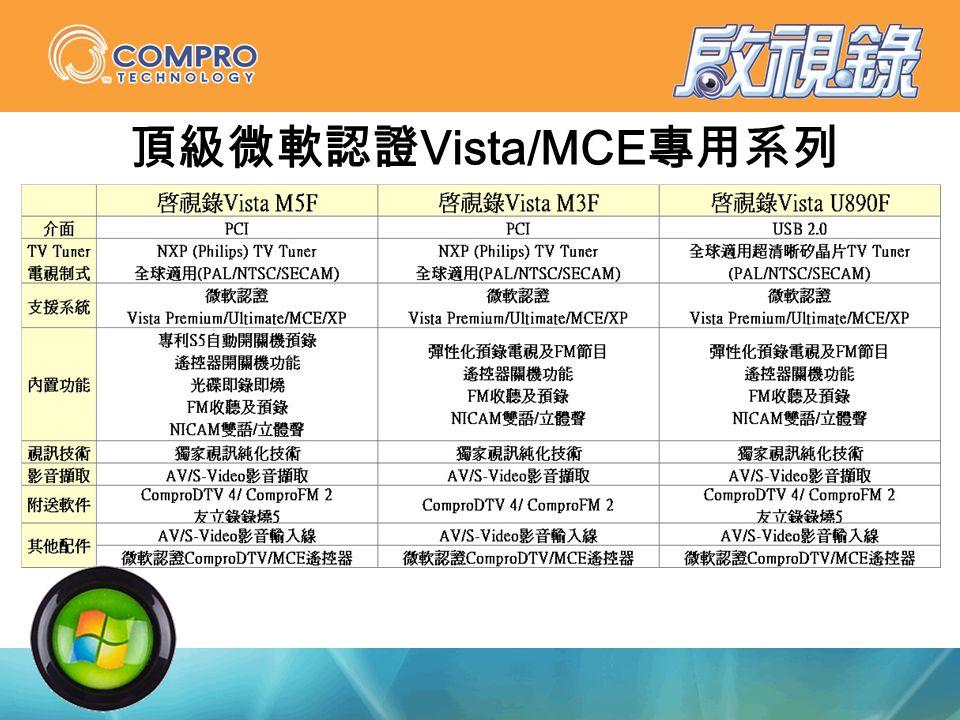 頂級微軟認證 Vista/MCE 專用系列