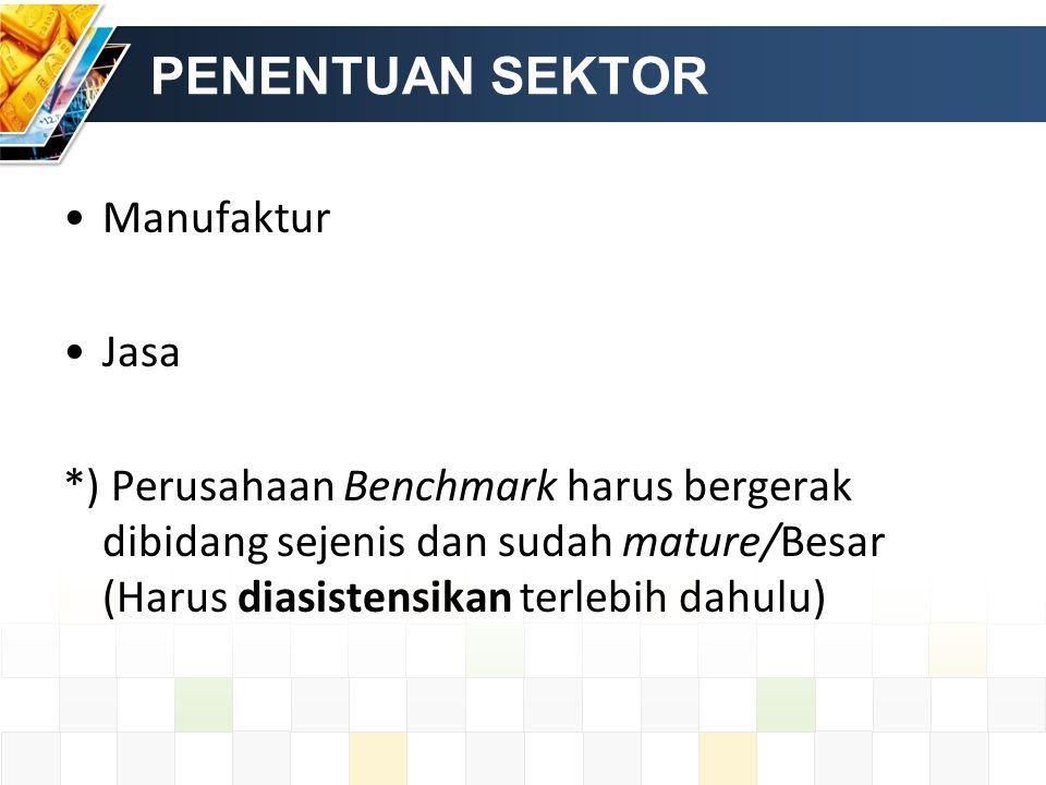PENENTUAN SEKTOR Manufaktur Jasa *) Perusahaan Benchmark harus bergerak dibidang sejenis dan sudah mature/Besar (Harus diasistensikan terlebih dahulu)