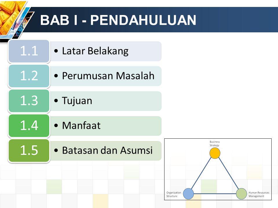 BAB I - PENDAHULUAN Latar Belakang 1.1 Perumusan Masalah 1.2 Tujuan 1.3 Manfaat 1.4 Batasan dan Asumsi 1.5