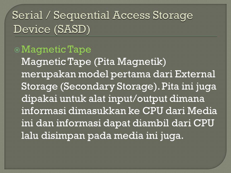  Magnetic Tape Magnetic Tape (Pita Magnetik) merupakan model pertama dari External Storage (Secondary Storage). Pita ini juga dipakai untuk alat inpu