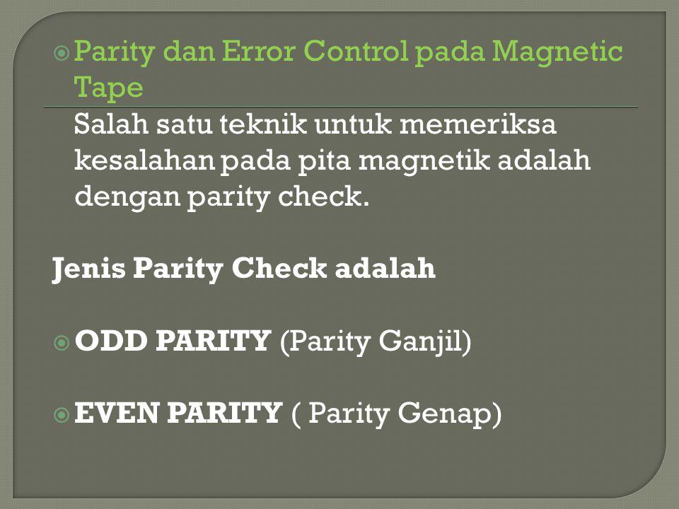  Parity dan Error Control pada Magnetic Tape Salah satu teknik untuk memeriksa kesalahan pada pita magnetik adalah dengan parity check. Jenis Parity