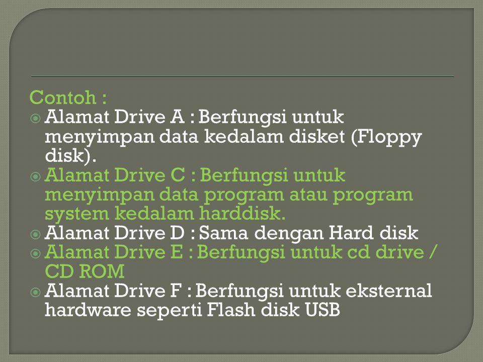 Contoh :  Alamat Drive A : Berfungsi untuk menyimpan data kedalam disket (Floppy disk).  Alamat Drive C : Berfungsi untuk menyimpan data program ata