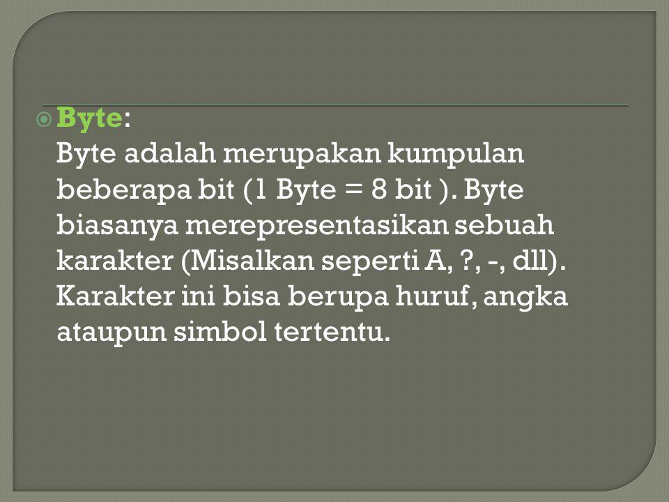  Byte: Byte adalah merupakan kumpulan beberapa bit (1 Byte = 8 bit ). Byte biasanya merepresentasikan sebuah karakter (Misalkan seperti A, ?, -, dll)