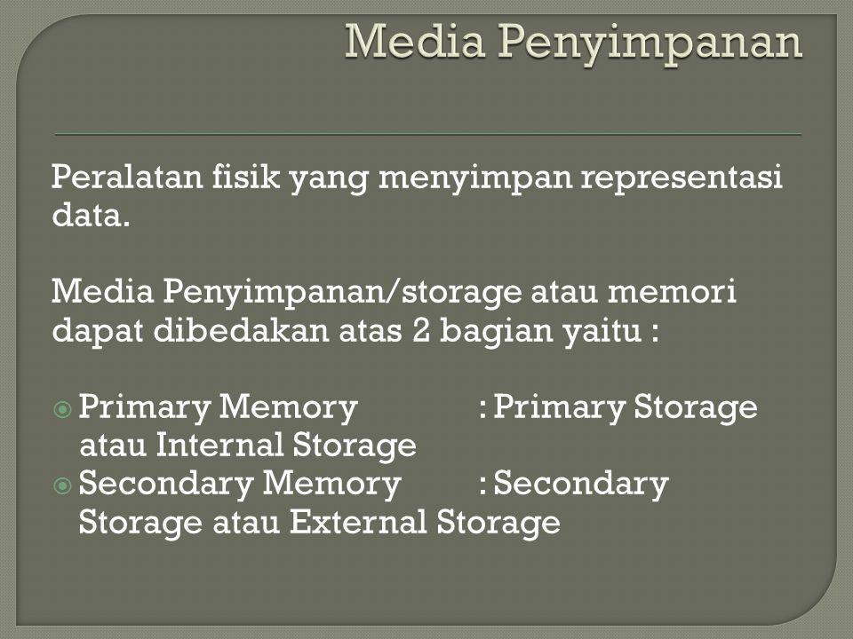 Peralatan fisik yang menyimpan representasi data. Media Penyimpanan/storage atau memori dapat dibedakan atas 2 bagian yaitu :  Primary Memory : Prima
