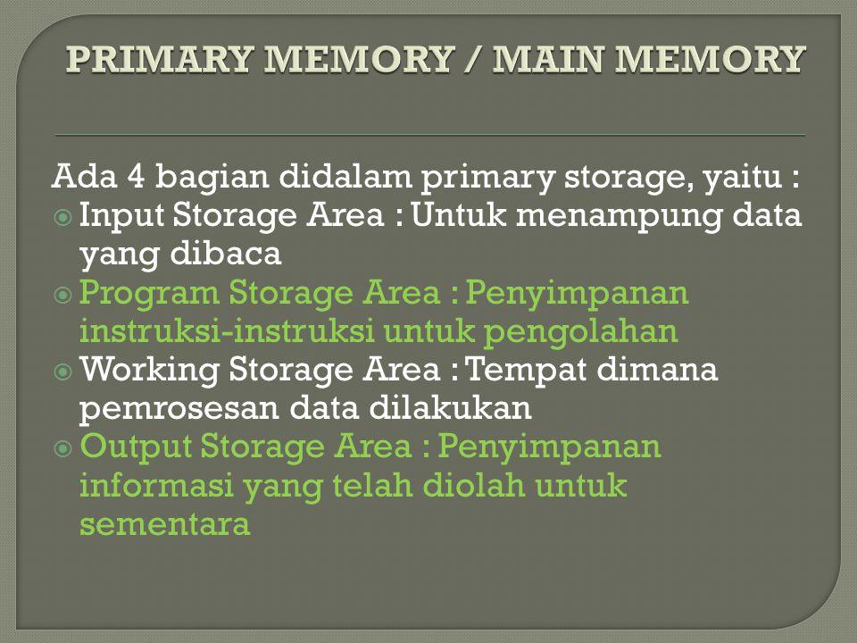 Ada 4 bagian didalam primary storage, yaitu :  Input Storage Area : Untuk menampung data yang dibaca  Program Storage Area : Penyimpanan instruksi-instruksi untuk pengolahan  Working Storage Area : Tempat dimana pemrosesan data dilakukan  Output Storage Area : Penyimpanan informasi yang telah diolah untuk sementara