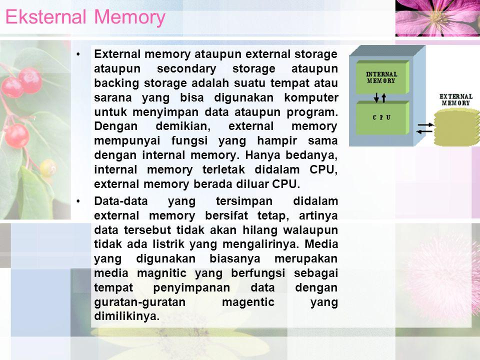 External memory ataupun external storage ataupun secondary storage ataupun backing storage adalah suatu tempat atau sarana yang bisa digunakan kompute