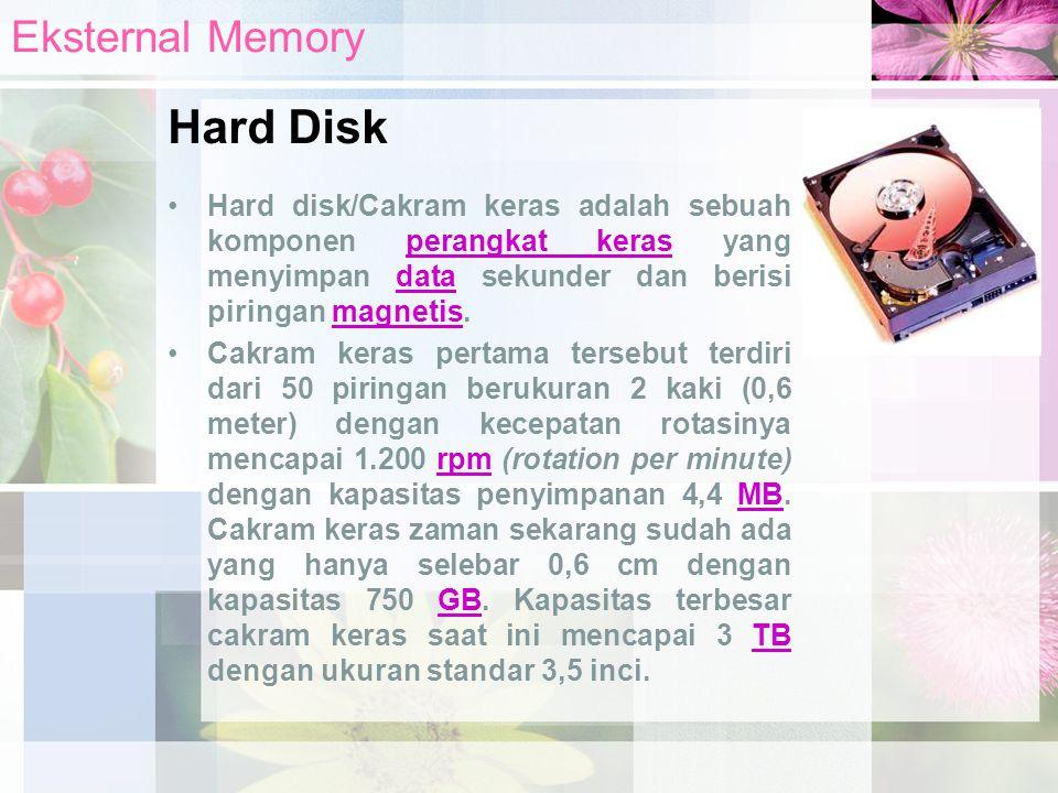 Hard disk/Cakram keras adalah sebuah komponen perangkat keras yang menyimpan data sekunder dan berisi piringan magnetis.perangkat kerasdatamagnetis Ca