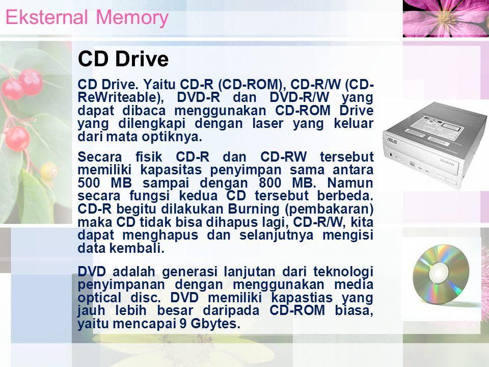 CD Drive. Yaitu CD-R (CD-ROM), CD-R/W (CD- ReWriteable), DVD-R dan DVD-R/W yang dapat dibaca menggunakan CD-ROM Drive yang dilengkapi dengan laser yan