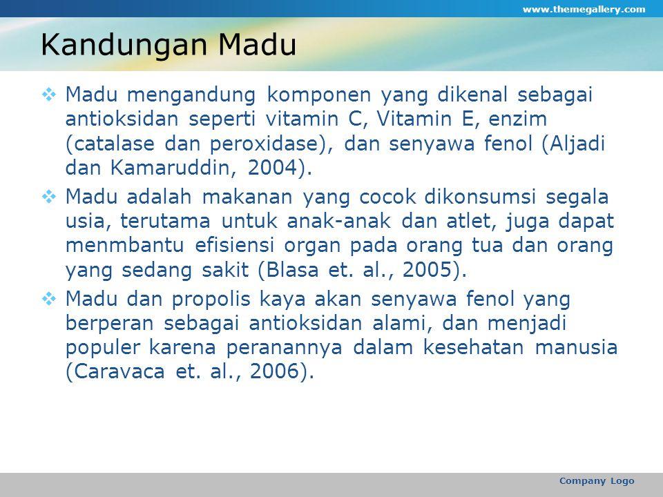 Kandungan Madu  Madu mengandung komponen yang dikenal sebagai antioksidan seperti vitamin C, Vitamin E, enzim (catalase dan peroxidase), dan senyawa fenol (Aljadi dan Kamaruddin, 2004).