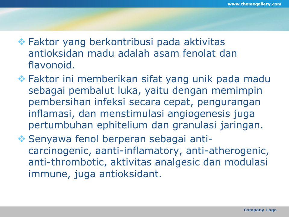  Faktor yang berkontribusi pada aktivitas antioksidan madu adalah asam fenolat dan flavonoid.