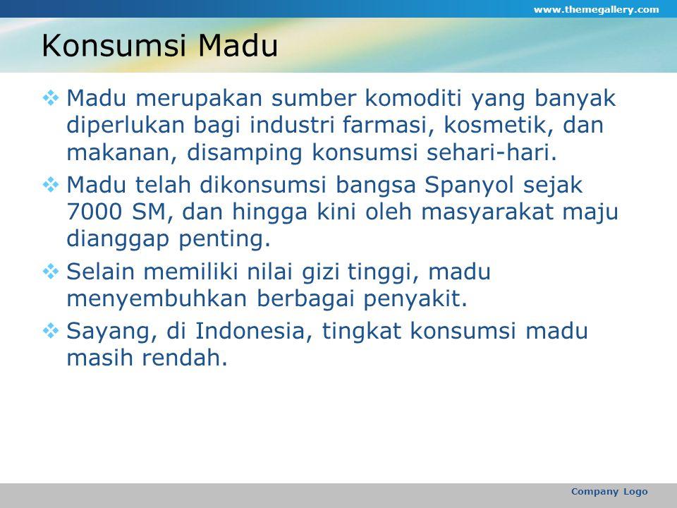 Konsumsi Madu  Madu merupakan sumber komoditi yang banyak diperlukan bagi industri farmasi, kosmetik, dan makanan, disamping konsumsi sehari-hari.