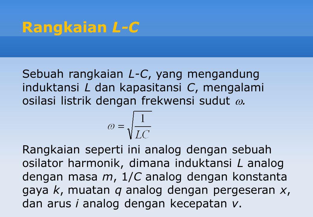 Sebuah rangkaian L-C, yang mengandung induktansi L dan kapasitansi C, mengalami osilasi listrik dengan frekwensi sudut . Rangkaian seperti ini analog