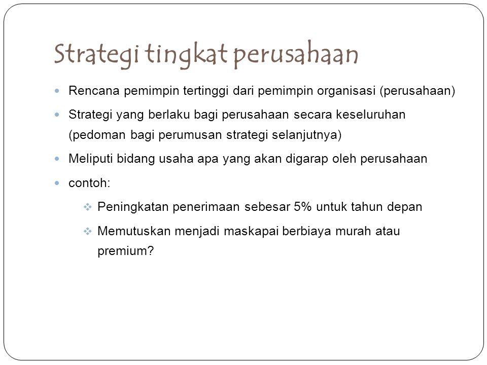 Strategi tingkat perusahaan Rencana pemimpin tertinggi dari pemimpin organisasi (perusahaan) Strategi yang berlaku bagi perusahaan secara keseluruhan