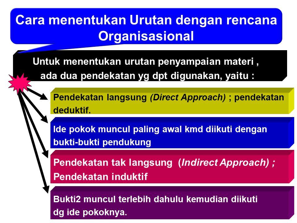 Untuk menentukan urutan penyampaian materi, ada dua pendekatan yg dpt digunakan, yaitu : Cara menentukan Urutan dengan rencana Organisasional Pendekat