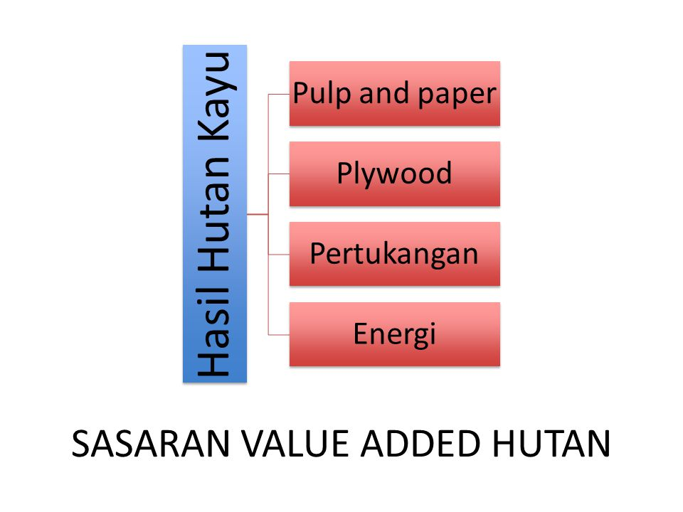 SASARAN VALUE ADDED HUTAN Hasil Hutan Kayu Pulp and paper Plywood Pertukangan Energi