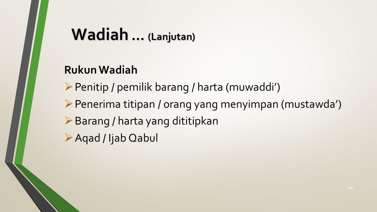Rukun Wadiah  Penitip / pemilik barang / harta (muwaddi')  Penerima titipan / orang yang menyimpan (mustawda')  Barang / harta yang dititipkan  Aqad / Ijab Qabul Wadiah...