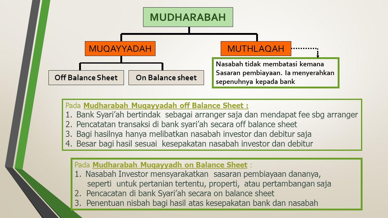 MUDHARABAH MUQAYYADAHMUTHLAQAH Off Balance SheetOn Balance sheet Pada Mudharabah Muqayyadah off Balance Sheet : 1.Bank Syari'ah bertindak sebagai arranger saja dan mendapat fee sbg arranger 2.Pencatatan transaksi di bank syari'ah secara off balance sheet 3.Bagi hasilnya hanya melibatkan nasabah investor dan debitur saja 4.Besar bagi hasil sesuai kesepakatan nasabah investor dan debitur Pada Mudharabah Muqayyadh on Balance Sheet : 1.Nasabah Investor mensyarakatkan sasaran pembiayaan dananya, seperti untuk pertanian tertentu, properti, atau pertambangan saja 2.