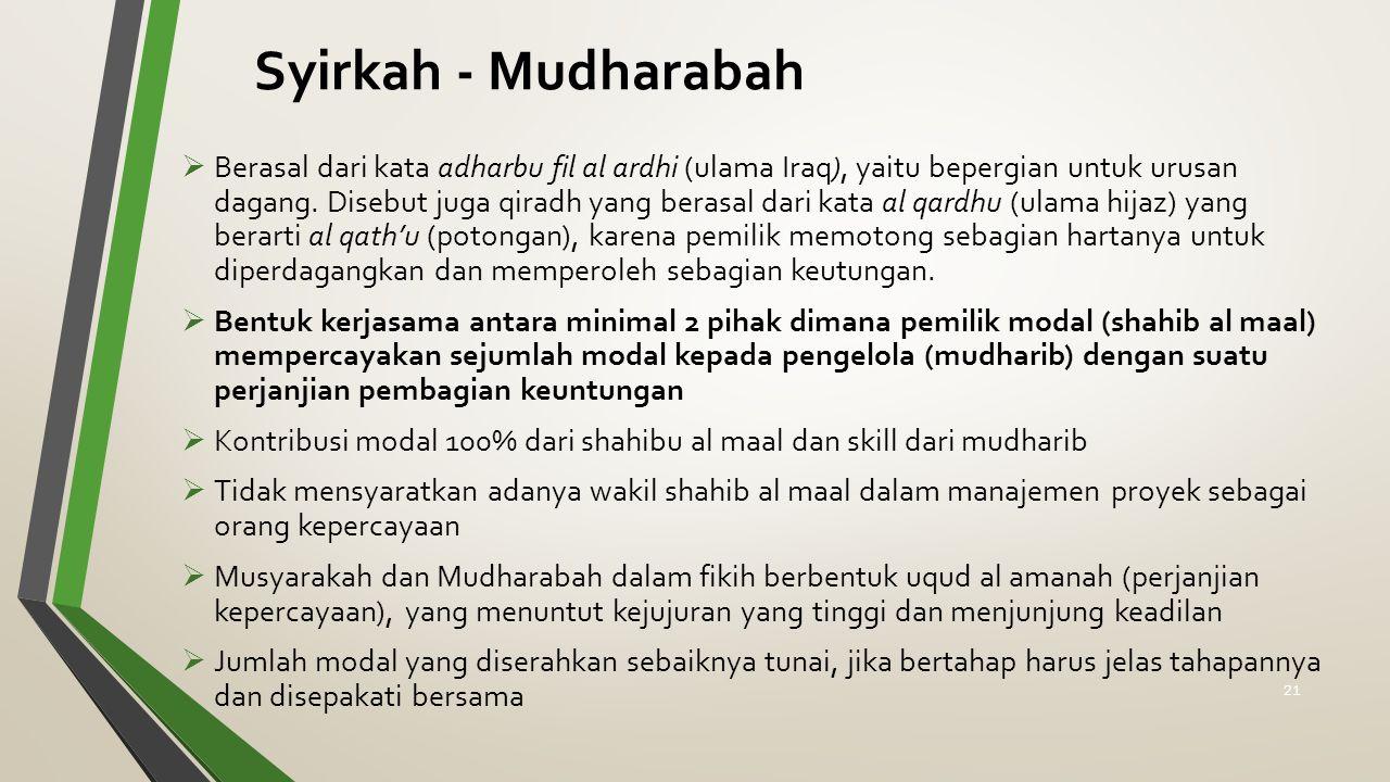 Syirkah - Mudharabah  Berasal dari kata adharbu fil al ardhi (ulama Iraq), yaitu bepergian untuk urusan dagang. Disebut juga qiradh yang berasal dari