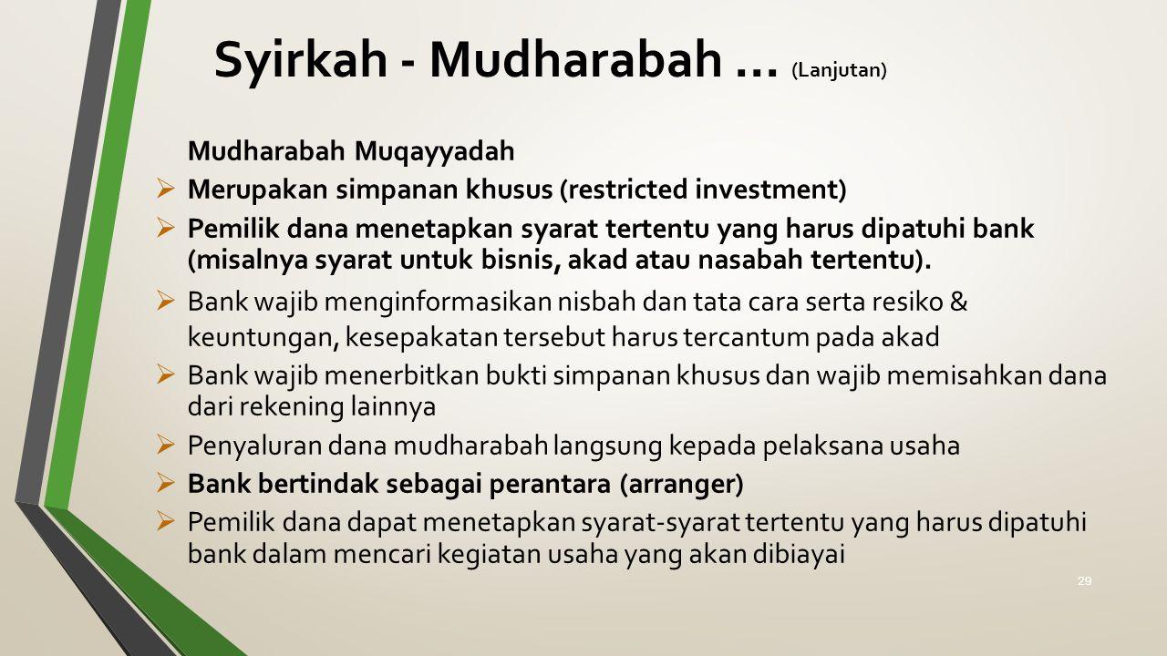 Mudharabah Muqayyadah  Merupakan simpanan khusus (restricted investment)  Pemilik dana menetapkan syarat tertentu yang harus dipatuhi bank (misalnya syarat untuk bisnis, akad atau nasabah tertentu).