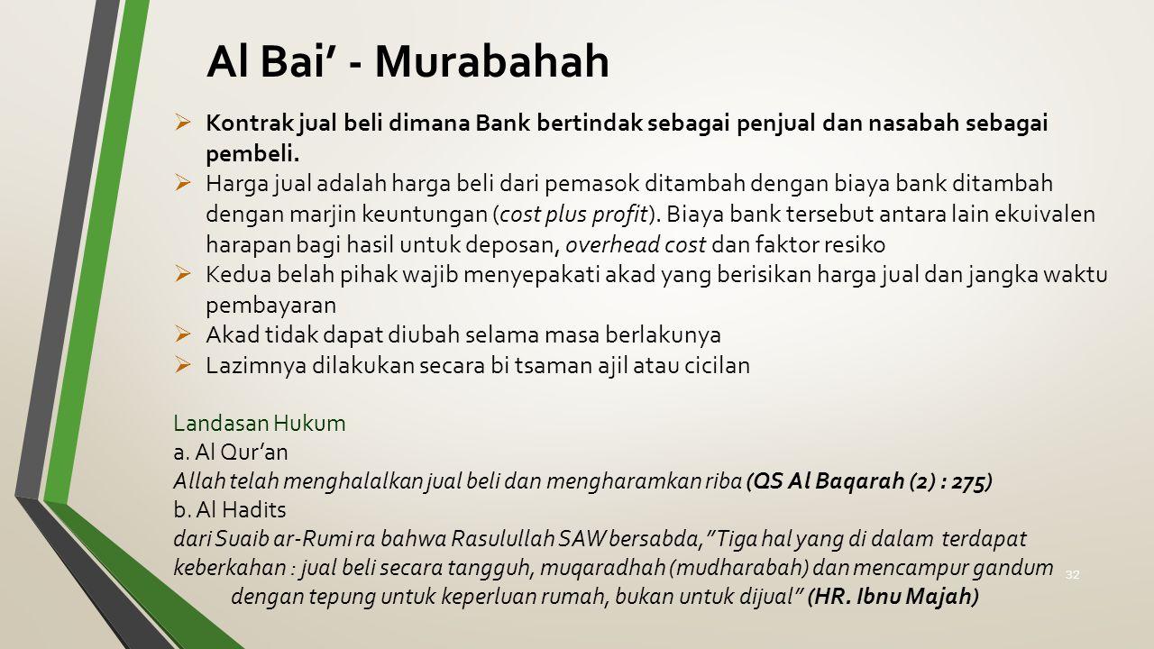  Kontrak jual beli dimana Bank bertindak sebagai penjual dan nasabah sebagai pembeli.