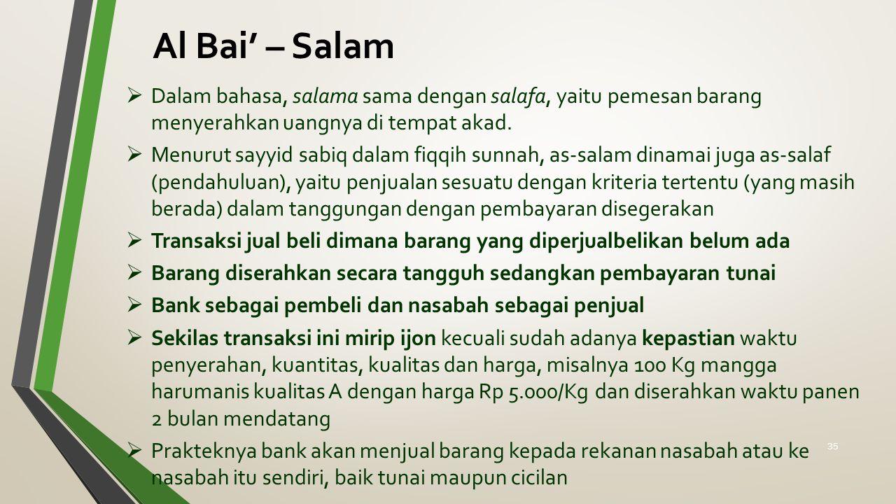 Al Bai' – Salam  Dalam bahasa, salama sama dengan salafa, yaitu pemesan barang menyerahkan uangnya di tempat akad.  Menurut sayyid sabiq dalam fiqqi
