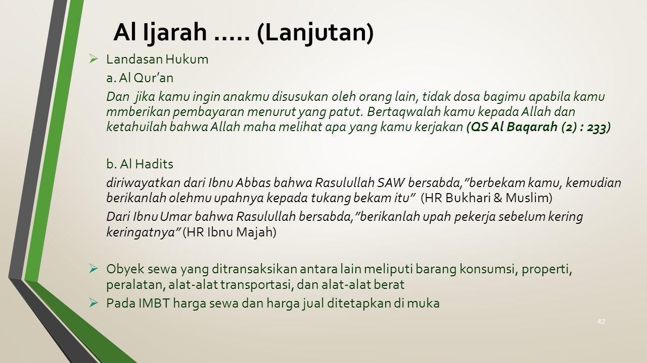 Al Ijarah..... (Lanjutan)  Landasan Hukum a. Al Qur'an Dan jika kamu ingin anakmu disusukan oleh orang lain, tidak dosa bagimu apabila kamu mmberikan