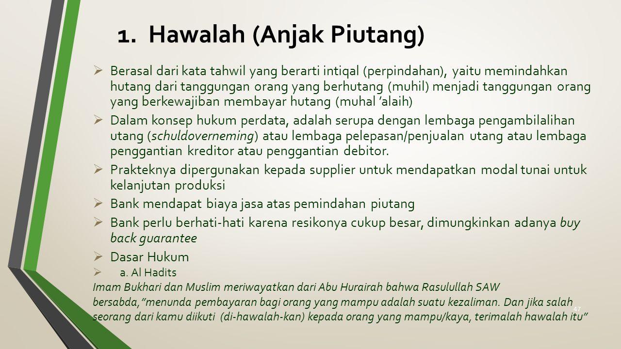 1. Hawalah (Anjak Piutang)  Berasal dari kata tahwil yang berarti intiqal (perpindahan), yaitu memindahkan hutang dari tanggungan orang yang berhutan