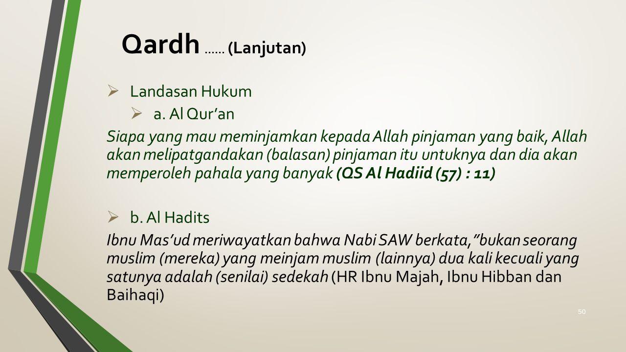 Qardh...... (Lanjutan)  Landasan Hukum  a. Al Qur'an Siapa yang mau meminjamkan kepada Allah pinjaman yang baik, Allah akan melipatgandakan (balasan