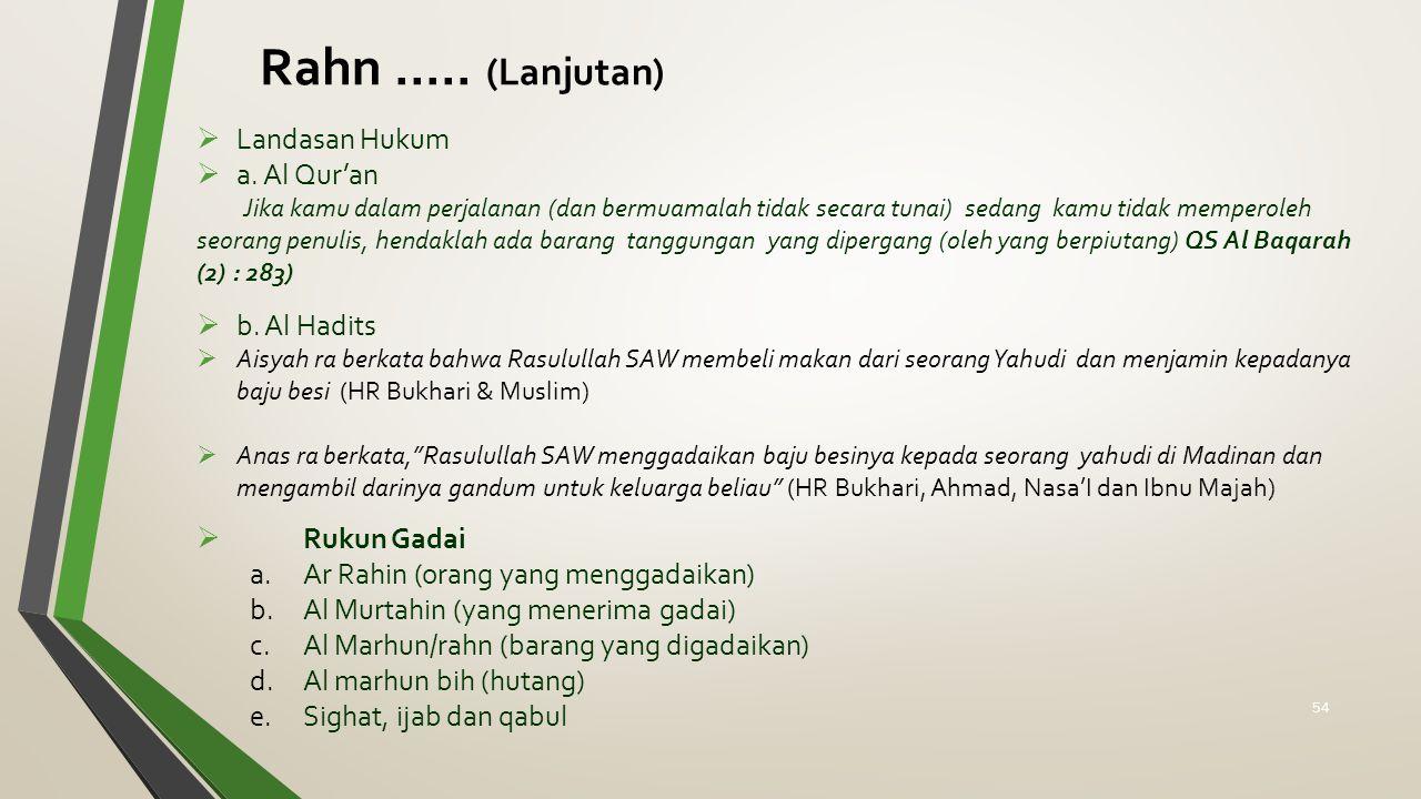  Landasan Hukum  a. Al Qur'an Jika kamu dalam perjalanan (dan bermuamalah tidak secara tunai) sedang kamu tidak memperoleh seorang penulis, hendakla