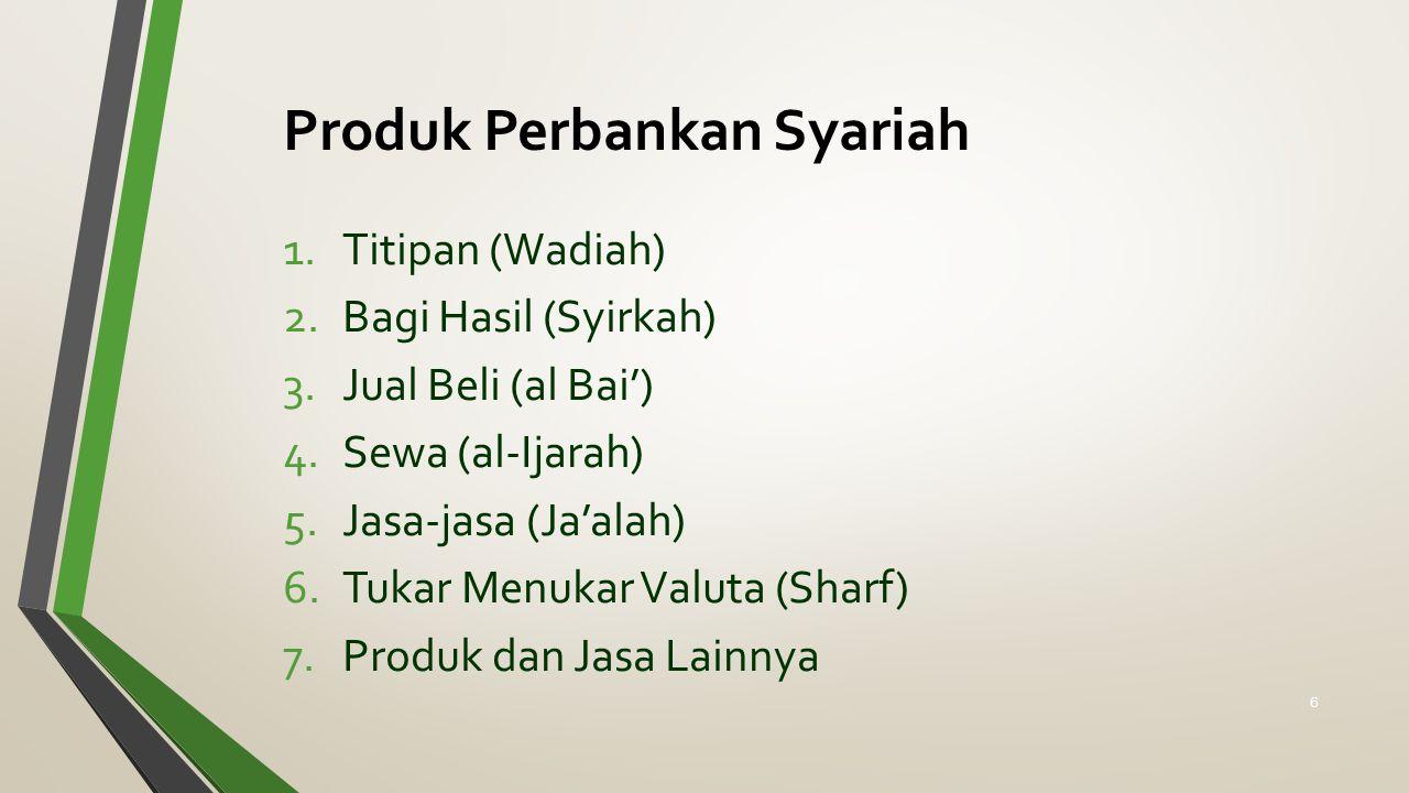 Produk Perbankan Syariah 1.Titipan (Wadiah) 2.Bagi Hasil (Syirkah) 3.Jual Beli (al Bai') 4.Sewa (al-Ijarah) 5.Jasa-jasa (Ja'alah) 6.Tukar Menukar Valuta (Sharf) 7.Produk dan Jasa Lainnya 6