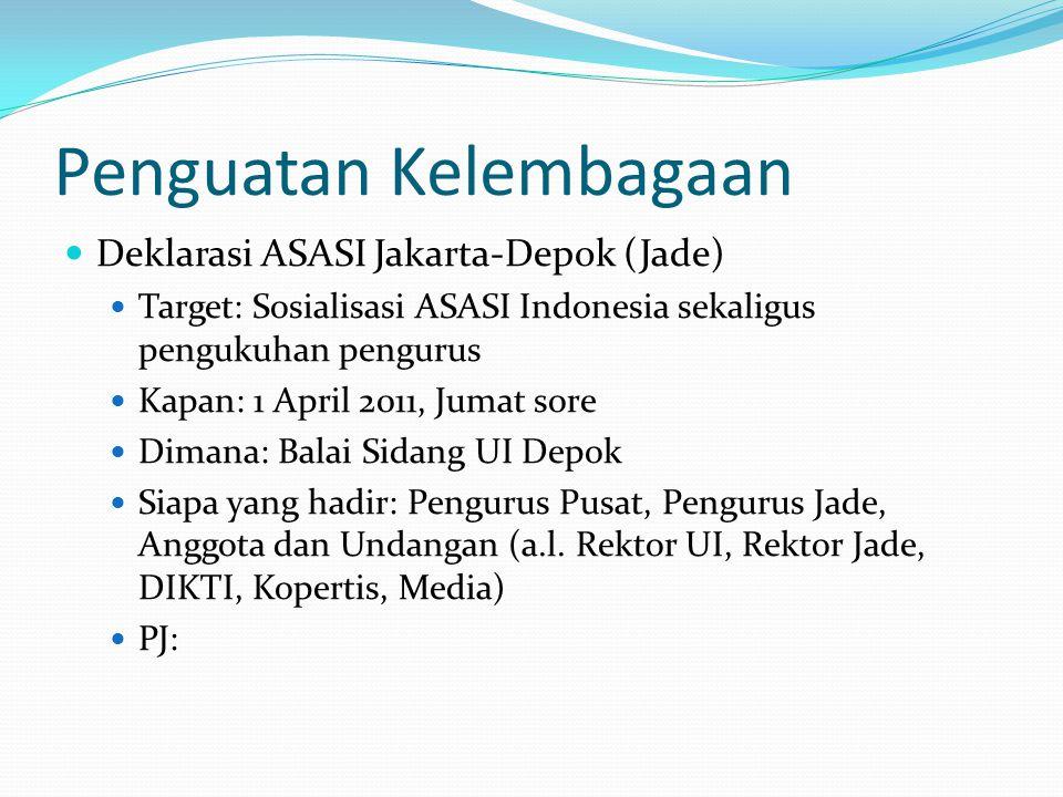 Penguatan Kelembagaan Deklarasi ASASI Jakarta-Depok (Jade) Target: Sosialisasi ASASI Indonesia sekaligus pengukuhan pengurus Kapan: 1 April 2011, Jumat sore Dimana: Balai Sidang UI Depok Siapa yang hadir: Pengurus Pusat, Pengurus Jade, Anggota dan Undangan (a.l.