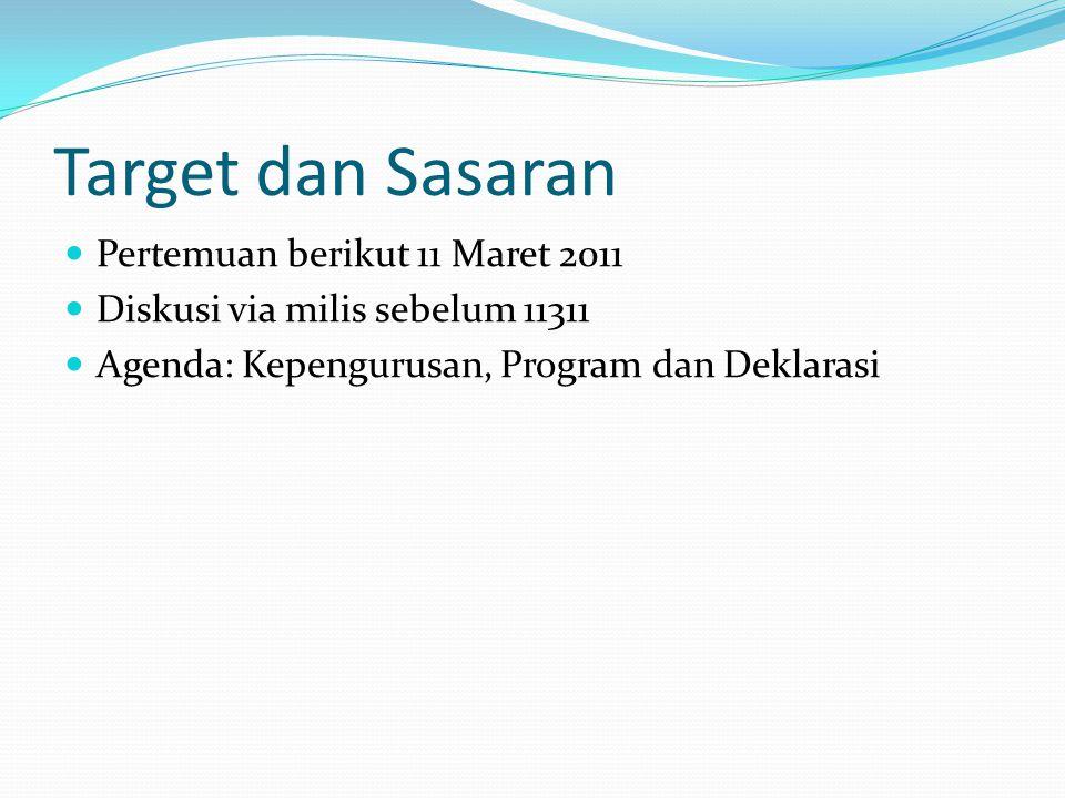 Target dan Sasaran Pertemuan berikut 11 Maret 2011 Diskusi via milis sebelum 11311 Agenda: Kepengurusan, Program dan Deklarasi